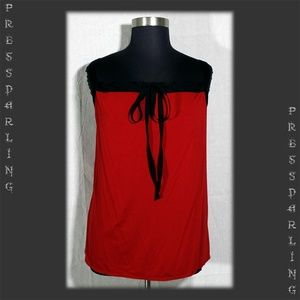 Studio M Red Tie Front Tank Trimmed in Black 2X